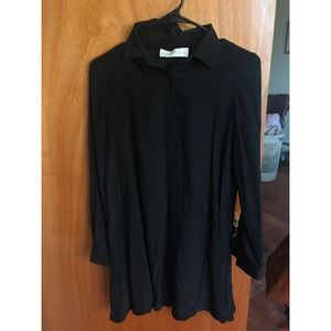 Amanda Uprichard Silk Black Shirt Dress